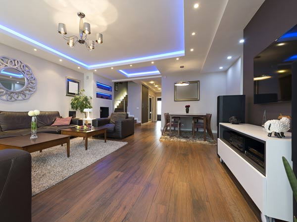entertainment room with hardwood flooring